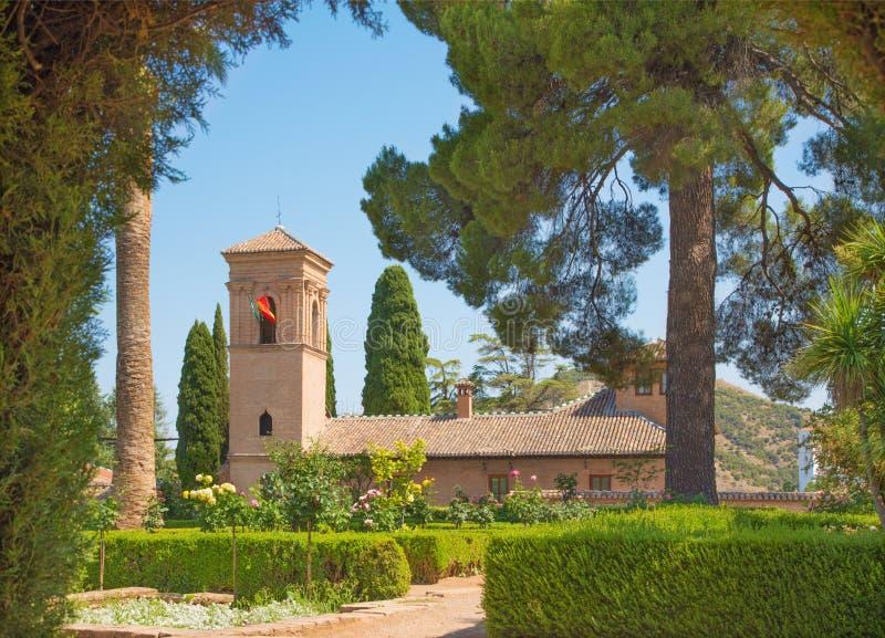 Grenade - les jardins du palais d'Alhambra photographie stock libre de droits