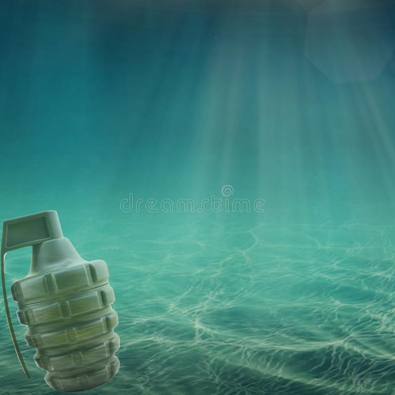 Grenade in the sea or ocean. Oil War stock photos