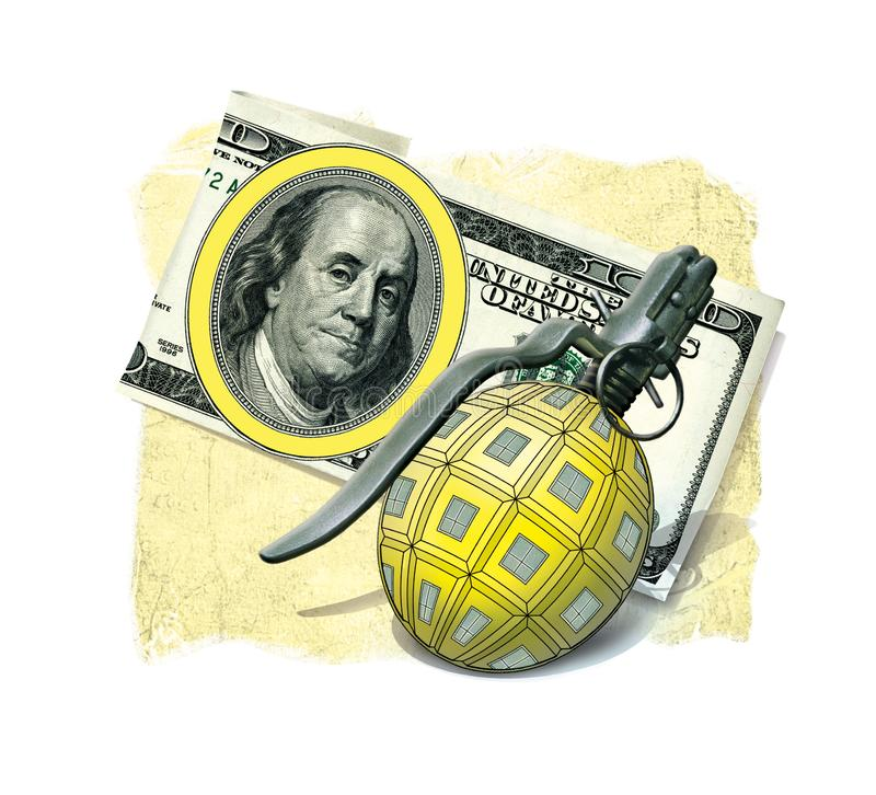 Grenade weapons pineapple F1 on the background of a note 100 US dollars, forming a symbolic sign royalty free illustration