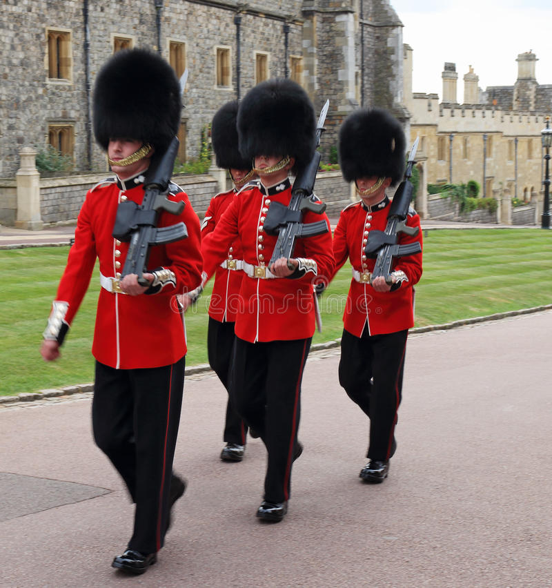 Grenadier Guards at Royal Windsor Castle in England stock photo