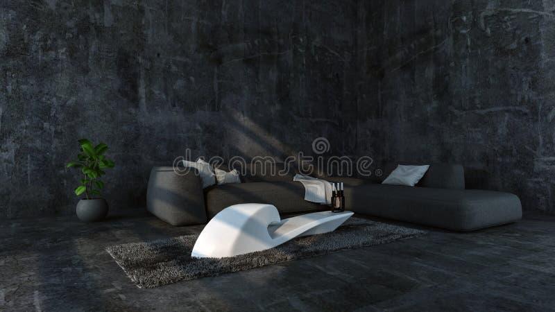 Grenier concret minimaliste avec le sofa gris illustration stock