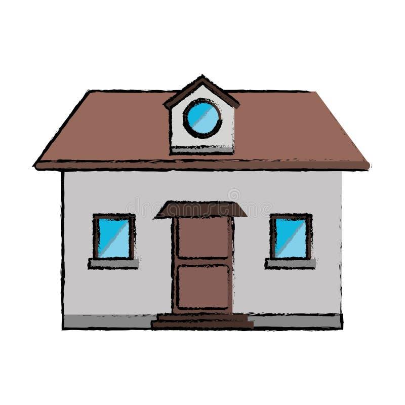 grenier de dessin de fen tre de maison de vue de face illustration de vecteur illustration du. Black Bedroom Furniture Sets. Home Design Ideas