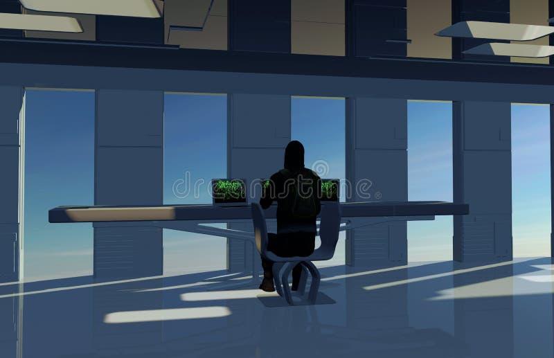 Grenier et étude, pirates informatiques dans l'action, infraction de protection de l'ordinateur Acquisition d'information ill?gal photo stock