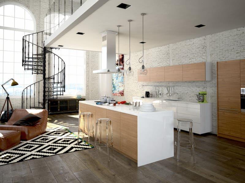 Grenier moderne avec une cuisine rendu 3d illustration stock