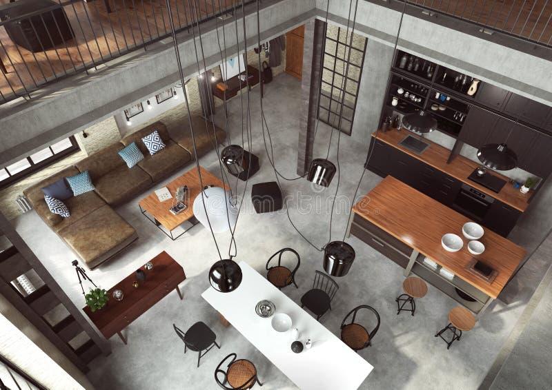 Grenier moderne conçu comme appartement ouvert de plan photo libre de droits