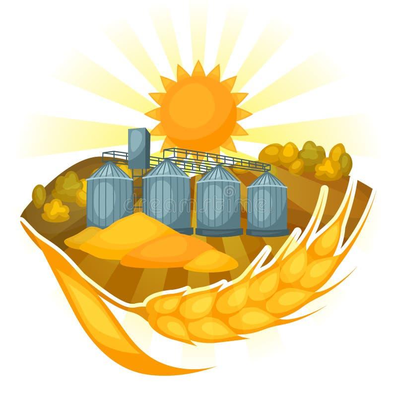 Grenier sur le champ de blé Paysage rural de ferme agricole d'illustration illustration de vecteur