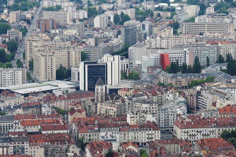 Grenoble city, seen from Bastilla mountain, France. Grenoble is a city in southeastern France, at the foot of the French Alps where the river Drac joins the Is royalty free stock images