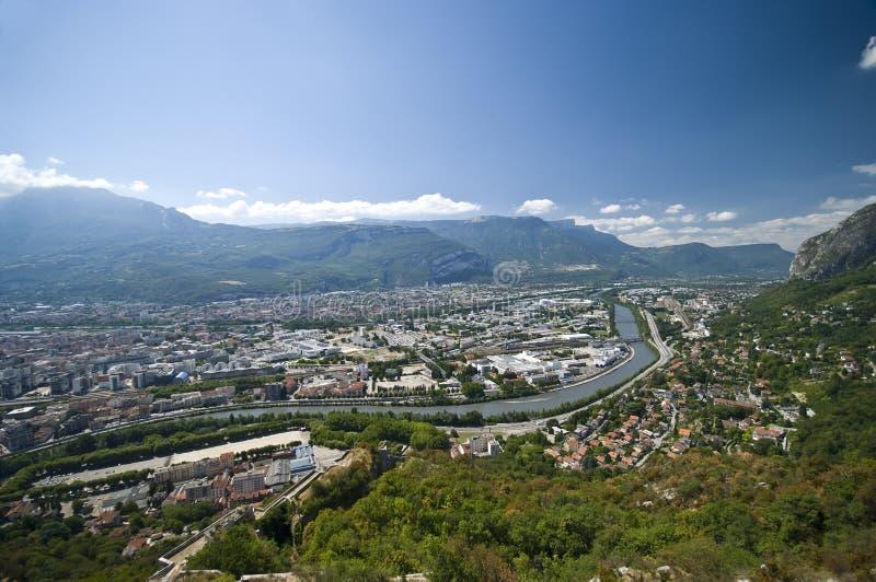 Grenoble-Luftaufnahme stockfotos