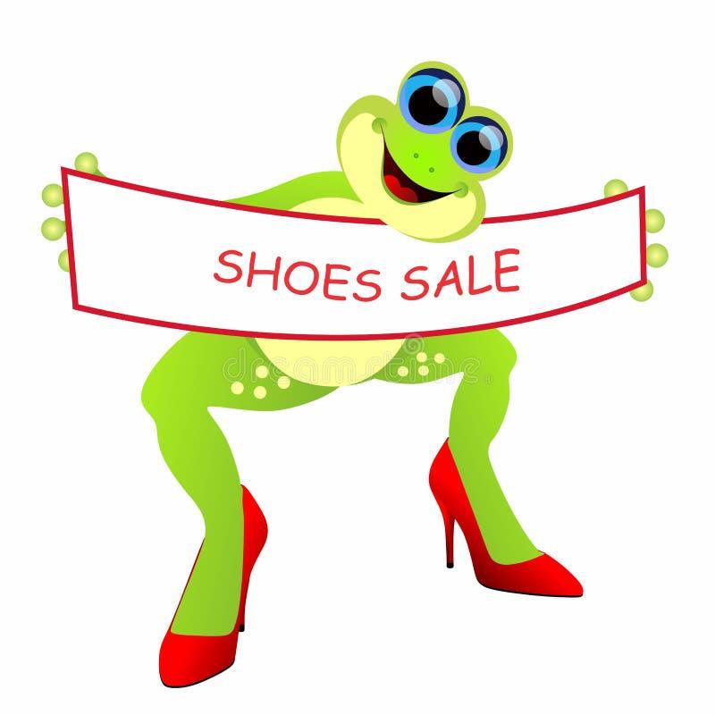 Grenouille avec la bannière de vente de chaussures illustration de vecteur