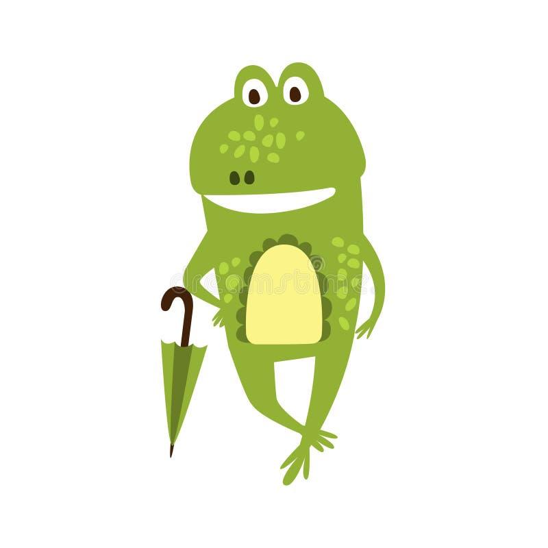 Grenouille avec le dessin de caractère animal de bande dessinée de parapluie de reptile amical plat de vert illustration libre de droits