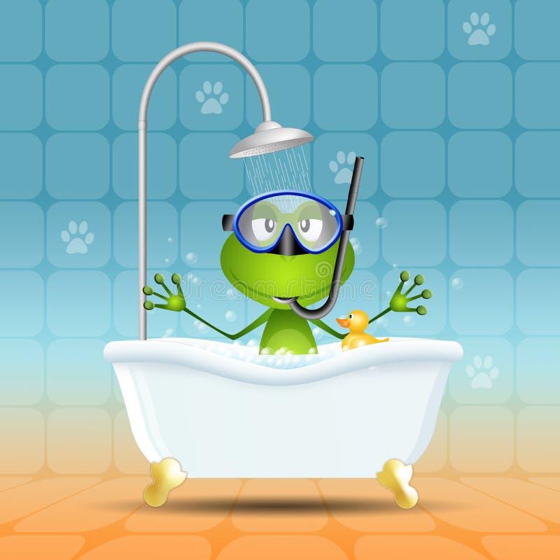 Grenouille dans le bain avec le masque de plongée illustration libre de droits