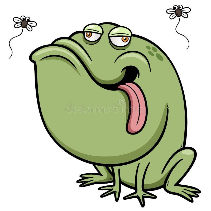Grenouille de bande dessinée avec l'insecte illustration libre de droits