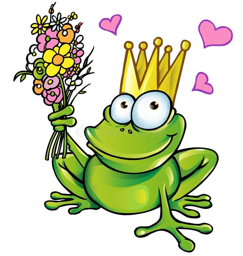 Grenouille de prince avec le bouquet illustration de vecteur