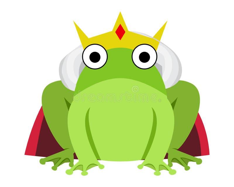 Grenouille de roi avec le cap et la couronne rouges illustration stock