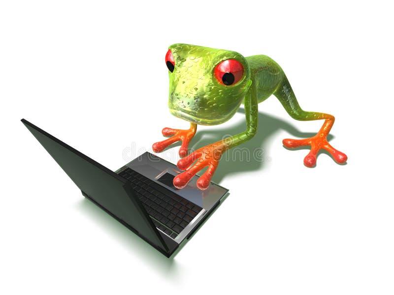 Grenouille devant un ordinateur portatif illustration stock