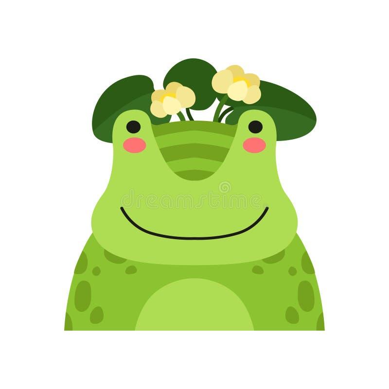 Grenouille drôle en guirlande des fleurs de lotus, illustration animale de vecteur d'avatar de caractère de bande dessinée mignon illustration de vecteur