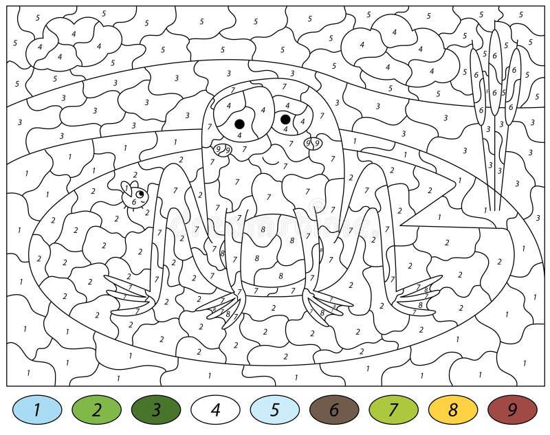 Grenouille et mouche de bande dessinée Couleur par le jeu éducatif de nombre pour des enfants illustration stock
