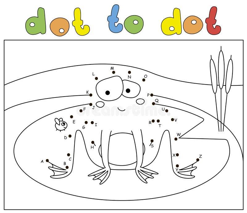 Grenouille et mouche drôles de bande dessinée Livre de coloriage et point pour pointiller le jeu éducatif illustration libre de droits