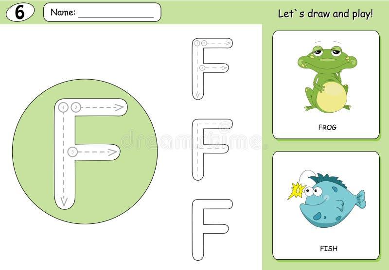 Grenouille et poissons de bande dessinée Fiche de travail de découverte d'alphabet : A-Z d'écriture illustration stock