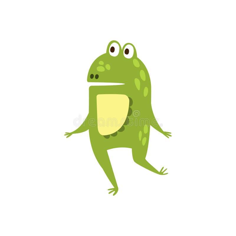 Grenouille fonctionnant sur le dessin de caractère animal de bande dessinée de deux jambes de reptile amical plat de vert illustration stock