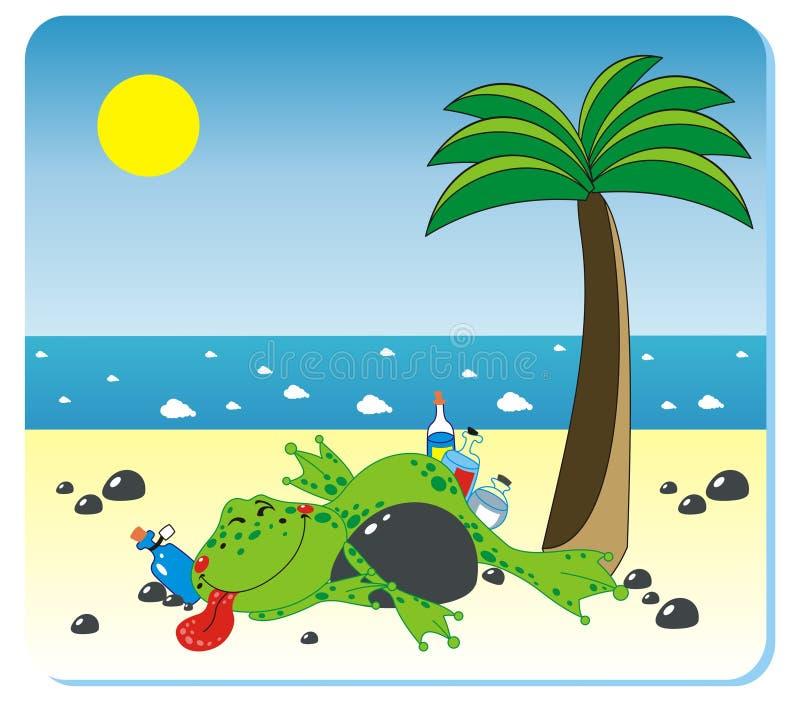 Grenouille ivre sur la plage illustration libre de droits