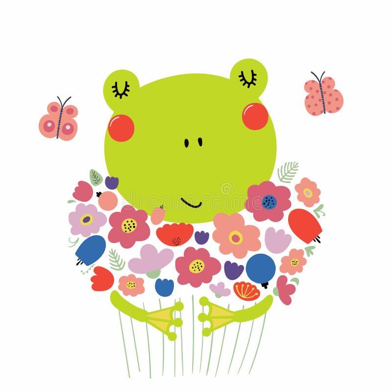 Grenouille mignonne avec des fleurs illustration stock