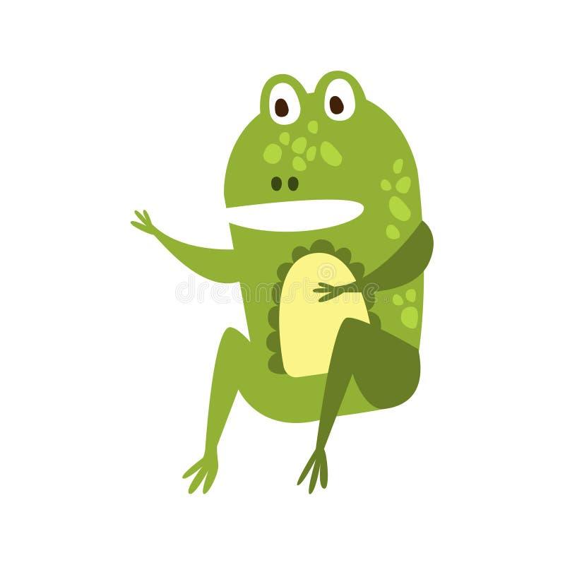 Grenouille se reposant comme l'homme parlant le dessin de caractère animal de bande dessinée de reptile amical plat de vert illustration stock