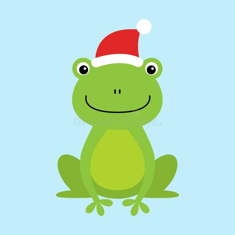 Grenouille se reposante drôle et mignonne utilisant le chapeau de Santa s pour Noël et le sourire - illustration libre de droits