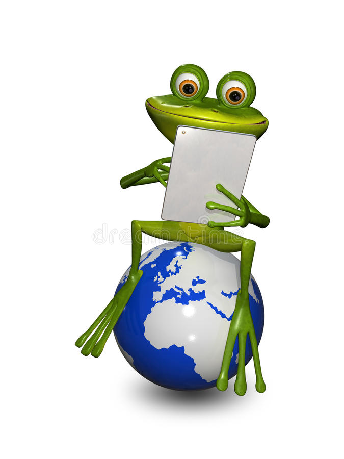 Grenouille sur un globe avec le comprimé illustration de vecteur