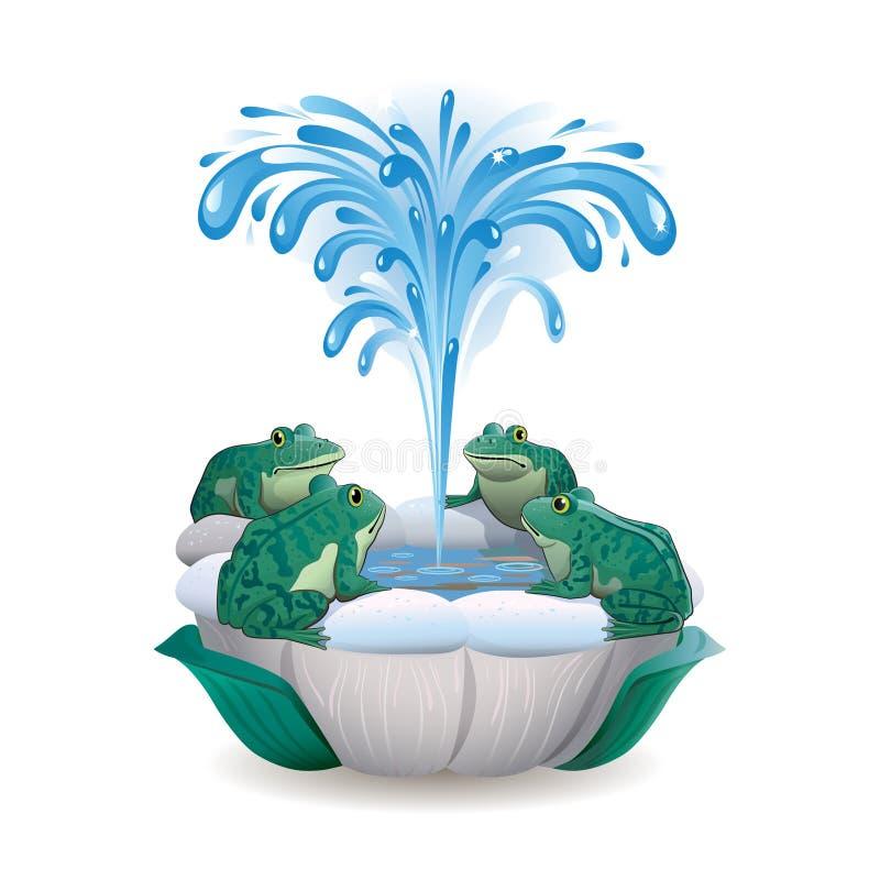 Grenouilles se reposant autour de la fontaine illustration de vecteur