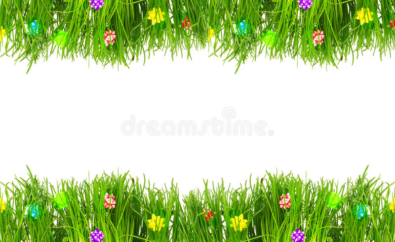 Grens, groetkaart van de lente vers gras stock afbeeldingen
