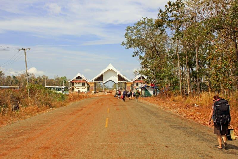 Grens Kambodja - Laos stock foto
