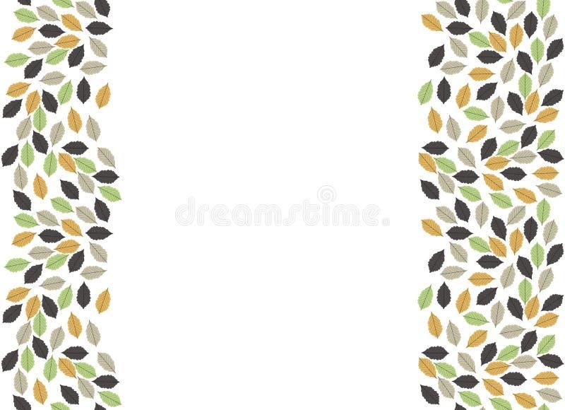 Grens met de herfstbladeren op witte achtergrond wordt geïsoleerd die stock illustratie