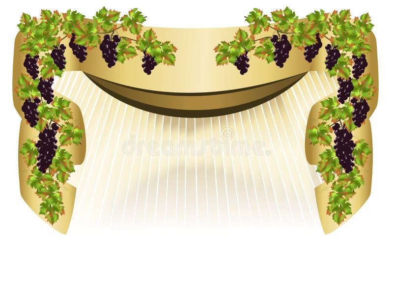 Grens met druiven royalty-vrije illustratie
