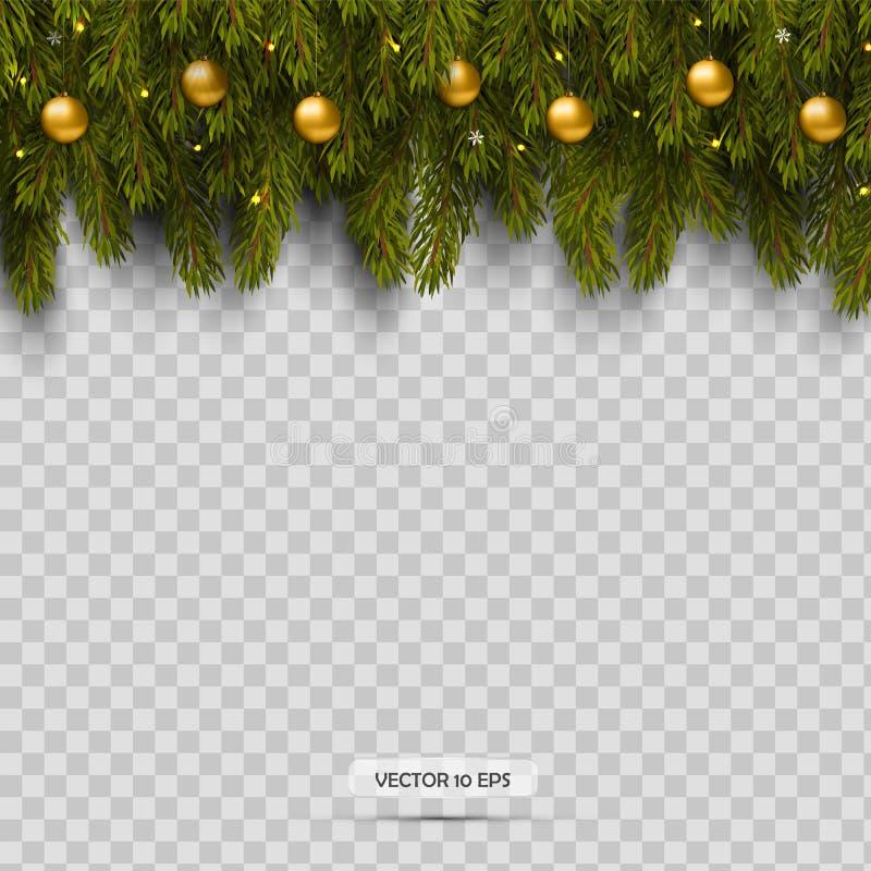 Grens met Kerstboomtakken en ornamenten met ballen en licht Geïsoleerd op transparante achtergrond royalty-vrije illustratie