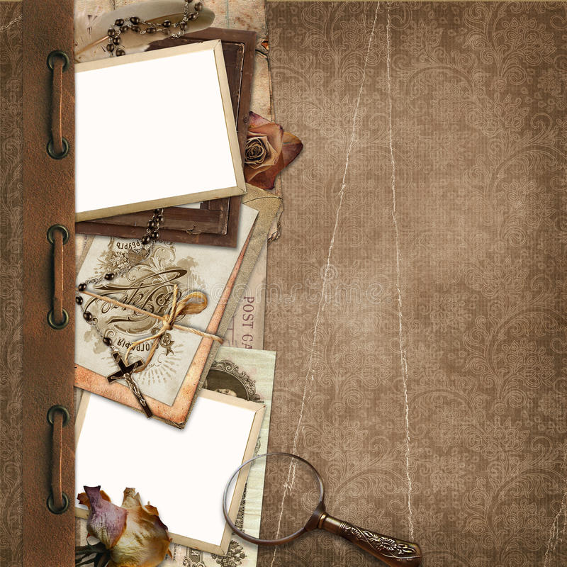 Grens met oude documenten, kaders op de uitstekende achtergrond vector illustratie