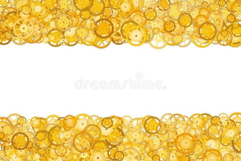 Grens met vele toestellen Gouden kader van toestellen Technologisch kader Mechanisch ontwerp Gele radertjes stock afbeeldingen