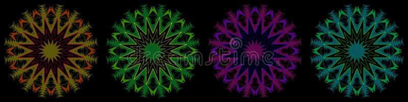 Grens met vier kleurrijke sterren op zwarte vector illustratie