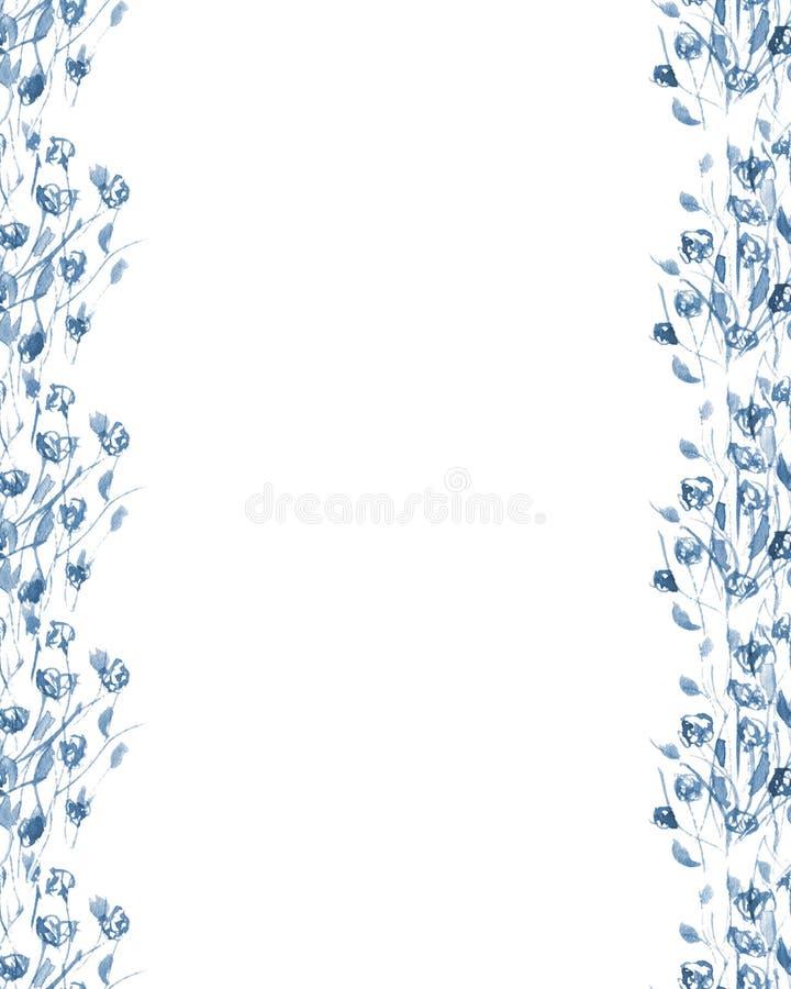 Grens van blauwe wildflowers stock afbeeldingen