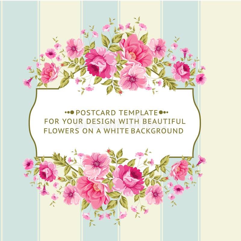 Grens van bloemen in uitstekende stijl royalty-vrije illustratie