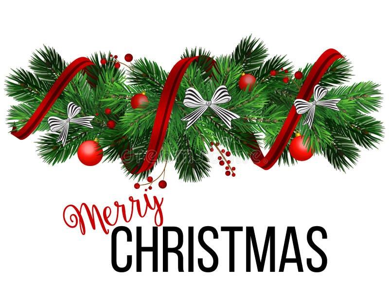 Grens van de realistische het kijken takken van de Kerstboomspar De slinger van sparnaalden, kader met wimpels, gestreepte boog,  royalty-vrije illustratie