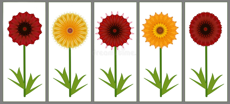 Grens van digitaal de kunstontwerp van zes rood en geel de zomerbloemen royalty-vrije illustratie