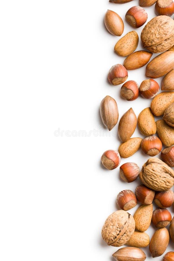 Download Grens Van Diverse Noten Op Witte Achtergrond Stock Afbeelding - Afbeelding bestaande uit achtergrond, gezond: 29501267