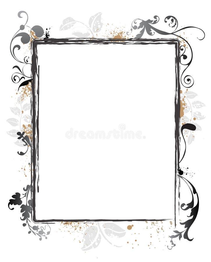 Grens van het Frame van Grunge van Swirly de Bloemen royalty-vrije illustratie