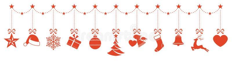 Grens van het hangen van Kerstmisornamenten stock illustratie