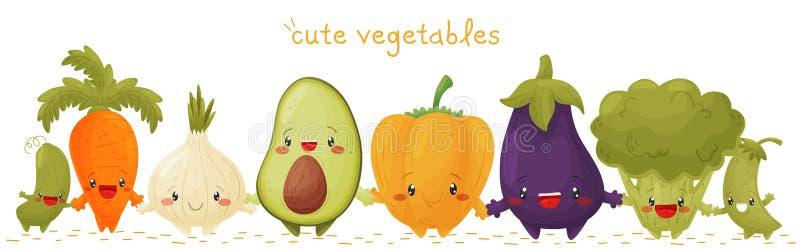 Grens van leuke groenten vector illustratie