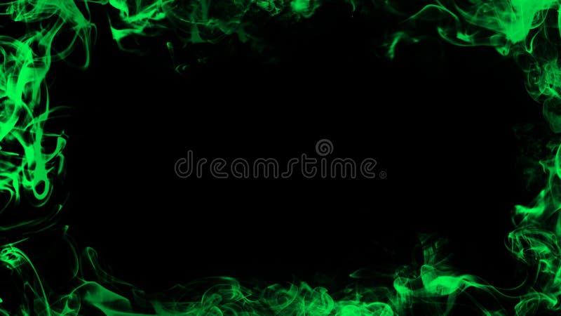 Grens van rook Groen nevelig textuureffect voor film, tekst of ruimte Het element van het ontwerp stock illustratie