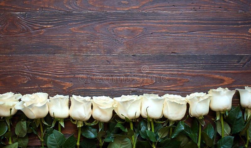 Grens van witte rozen op een donkere houten achtergrond royalty-vrije stock foto