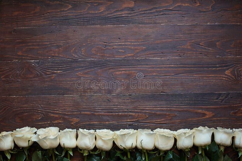Grens van witte rozen op een donkere houten achtergrond stock foto