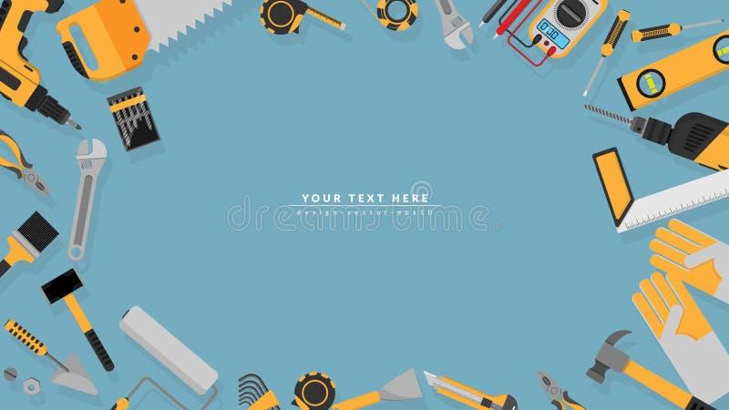 Grenskader van de gele reeks van kleurenhulpmiddelen als achtergrond met lege exemplaarruimte voor uw tekst vectorillustratie een royalty-vrije illustratie